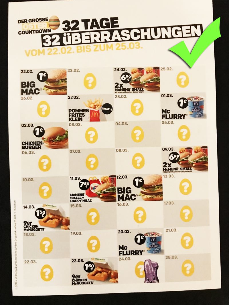 Big Mac bei Mc Donals gratis